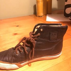 Frye Shoes - Frye black leather high top sneakers